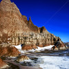 Badlands in winter, South Dakota